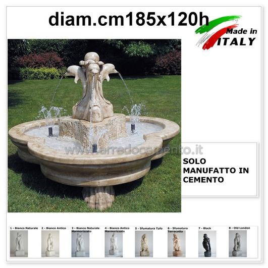 Fontane da giardino in cemento, pietra e metallo: Fontana Da Giardino Olbia Cm185x185x120h Vari Colori