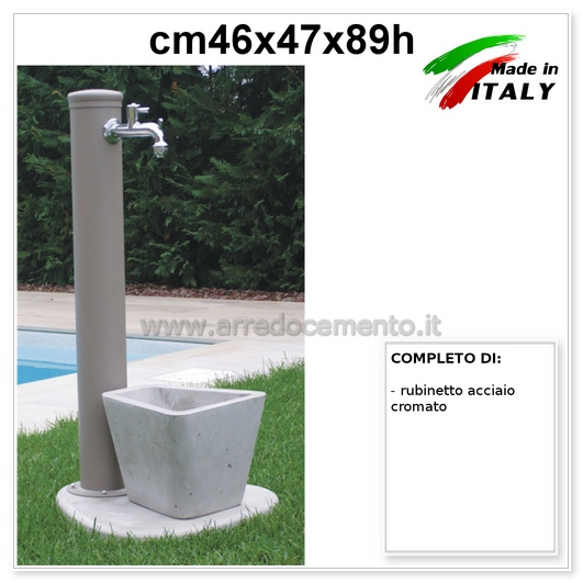 Fontana da giardino a parete modello eraclea.dimensioni : Fontane Da Giardino Moderne Desire Cm46x47x89h Tortora Base Vasca Siri