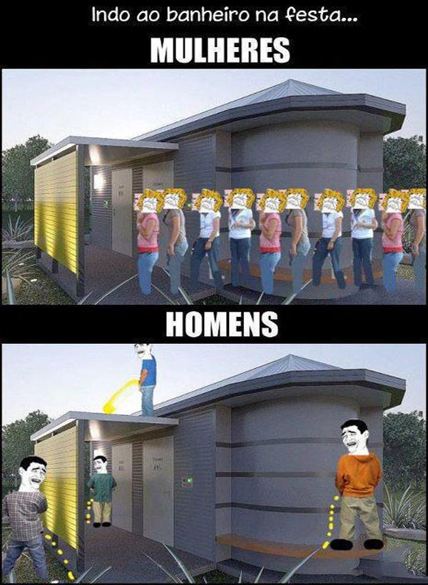 Indo ao banheiro na festa: homem x mulheres