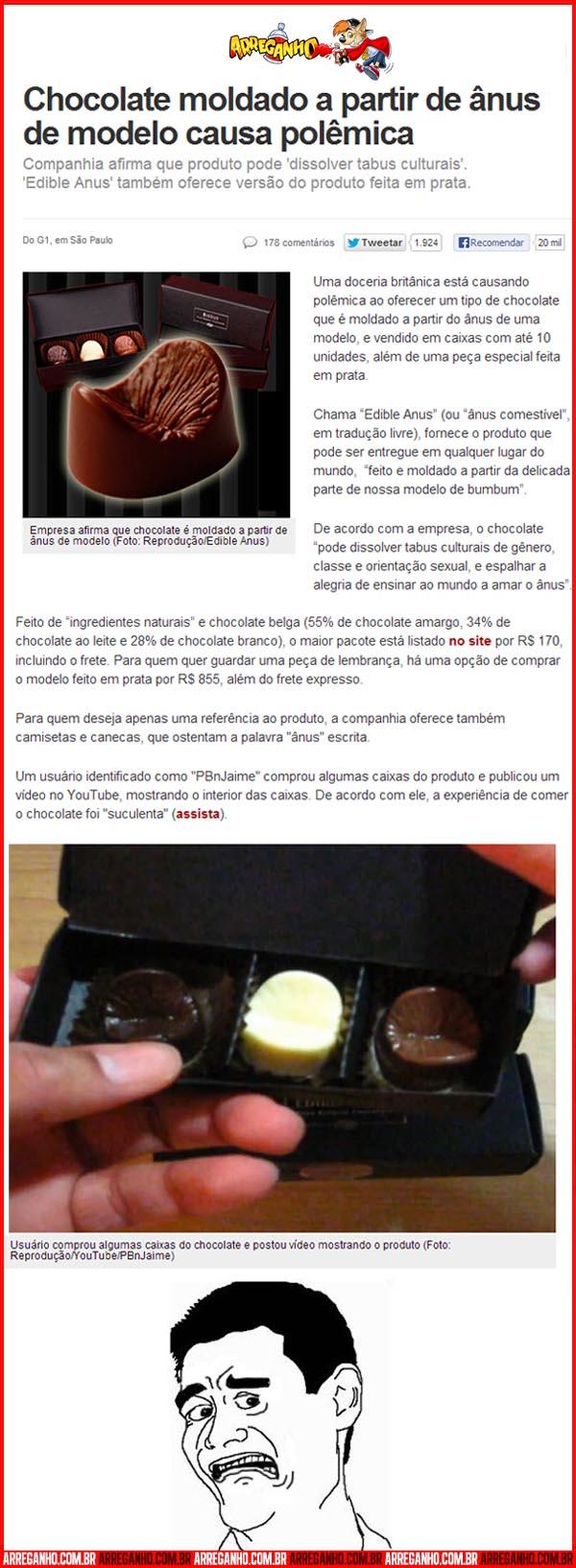 Chocolate moldado a partir de ânus de modelo causa polêmica