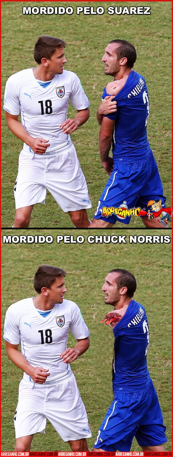 Como seria se ao invés de Suárez ter dado a Mordida fosse Chuck Norris?