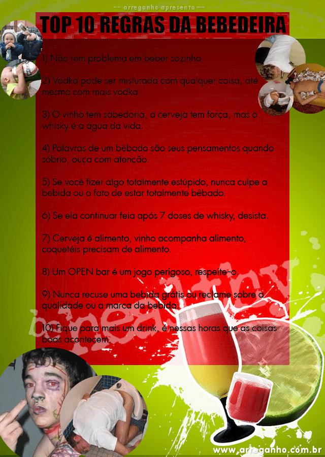 Top 10 regras da bebedeira!