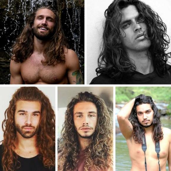 corte rizado pelo largo hombre