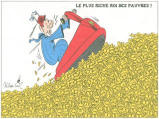 Tout comme la caricature accompagnant larticle, un dessin de Khalid titré le plus riche roi des pauvres