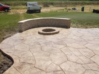 Stamped Concrete Patio With Fire Pit