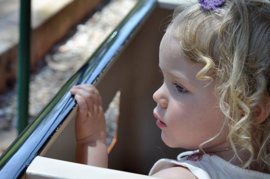 Little Miss B Riding the Train in Balboa Park