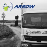 """img src=""""Arrow-Couriers-Beach-bw.jpg"""" alt=""""Arrow couriers truck with sea in the background black and white"""""""
