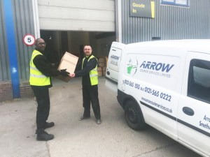 "img src=""Arrow-Couriers-Matthew-delivering.jpg"" alt=""One of our uniformed driver making another successful same day delivery"""