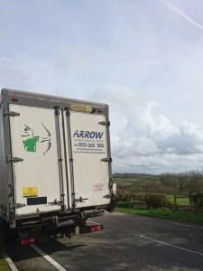 """img src=""""Arrow-1-atego-sunshine.jpg"""" alt=""""Arrow Couriers Mercedes Atego on Tacho break in a countryside layby"""""""