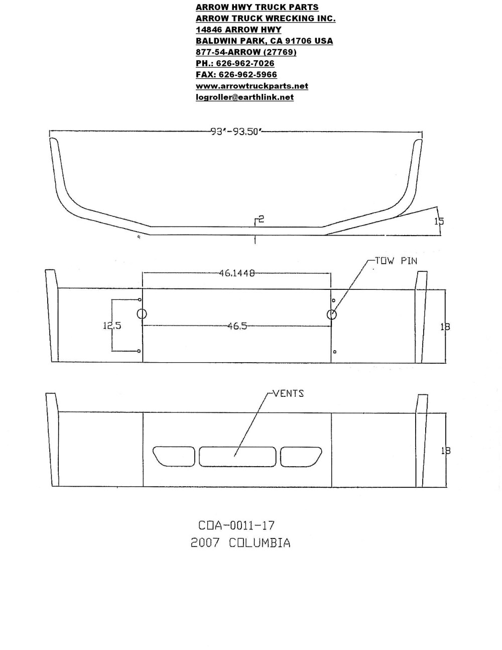 medium resolution of 2008 and later freightliner columbia bumper with tow hitch and vent holes