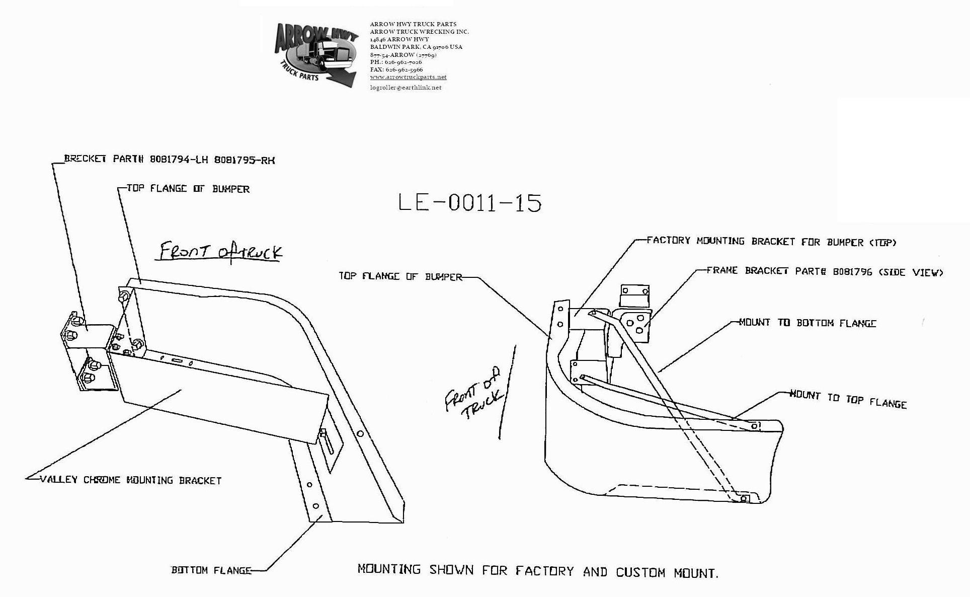 BumperMaker: Volvo VNL 1998 To 2003 VNL42T & VNL64T (LE)