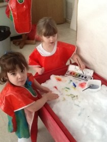 Painting snow with water colors!