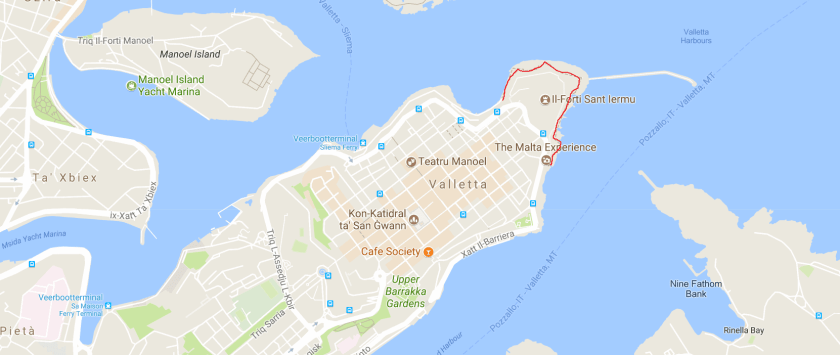 Valletta seafront walking route