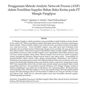 Jurnal Metode Analytic Network Process (ANP) dalam pemilihan Supplier Bahan Baku Kertas pada PT Mangle Panglipur