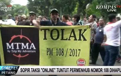"Sopir Taksi ""Online"" Demo Minta Permenhub 108 Dihapus"
