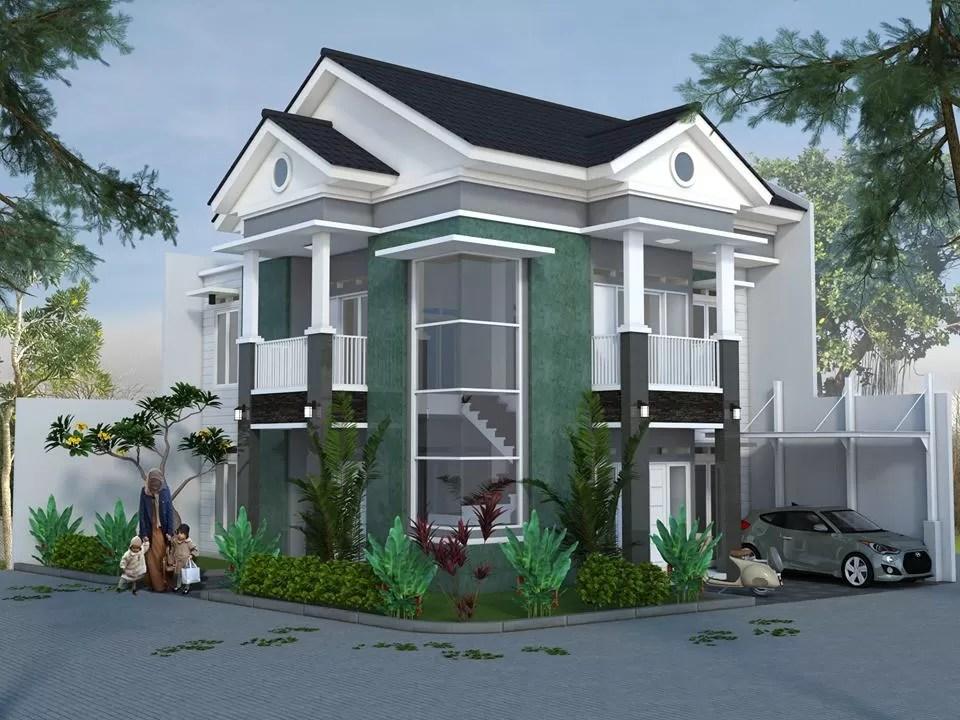 desain rumah hook hoek 1.5 lantai