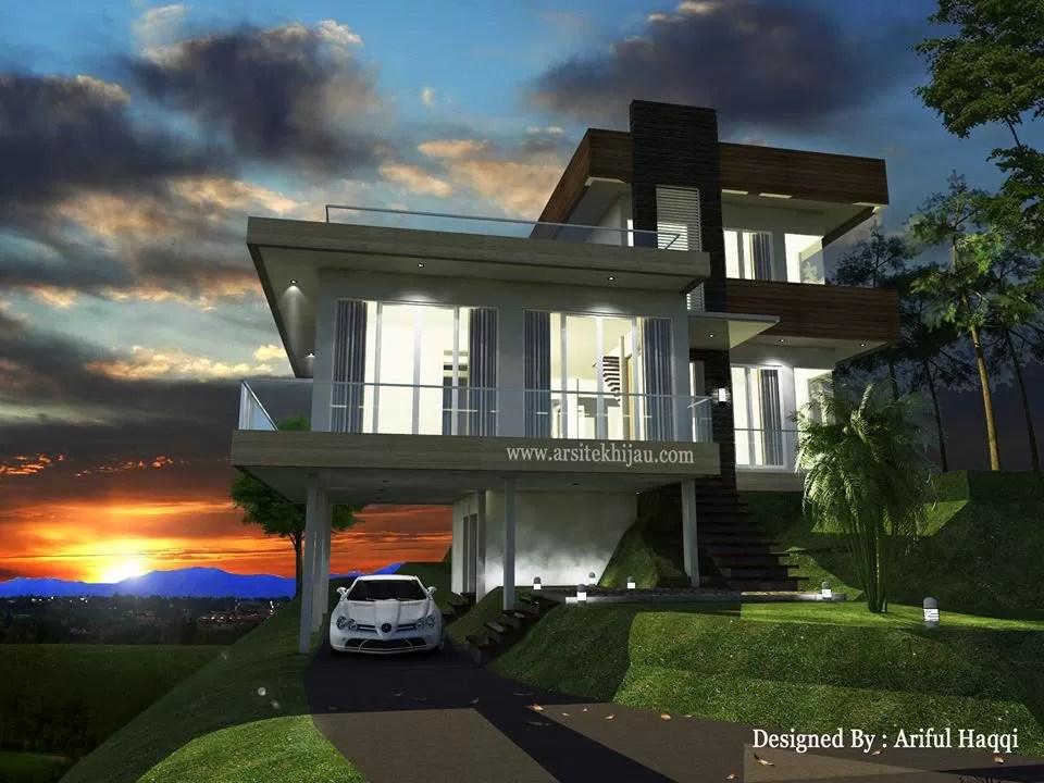 desain villa gunung salak