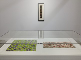 """View of """"Qor Corporation: Lionel Ziprin, Harry Smith and the Inner Language of Laminates,"""" Maccarone, New York, 2013."""