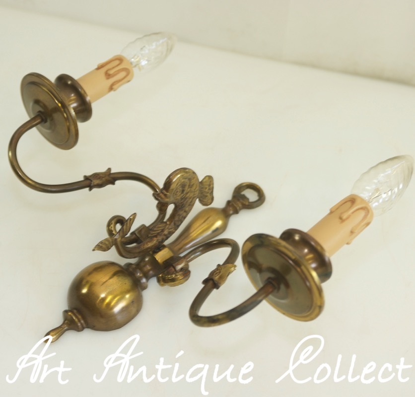 Antique Wall Lamp Brass Baroque Style Fish Led Wall Light