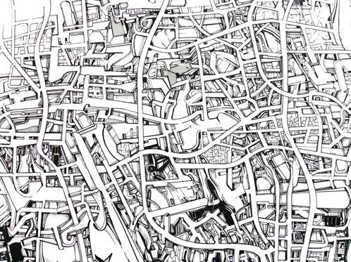 Dessin reticulaire 1, 2012 - 2013 Encre et letraset sur papier, 160 x 300 cm Collection de l'artiste. Courtesy Galerie Eric Dupont, Paris