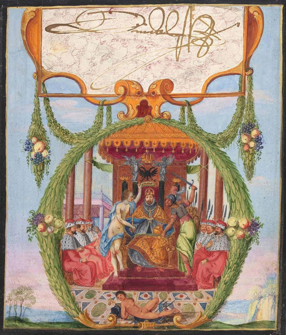 a decorative painting with the signature of Holy Roman Emperor Rudolf II