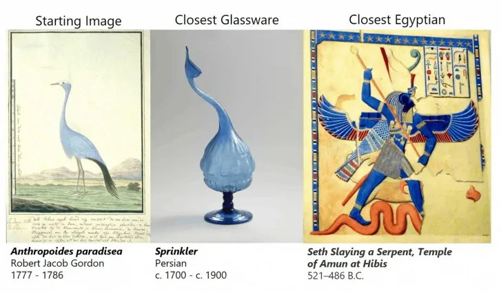 composite image of blue bird, blue glass object, and an Egyptian image