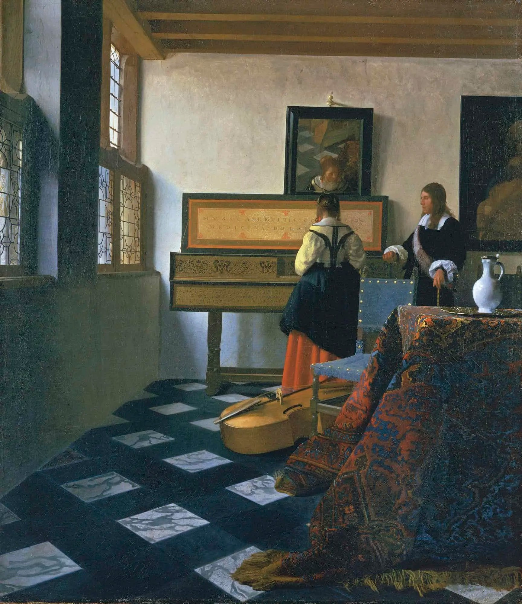 painting of woman sitting at a virginal with a teacher