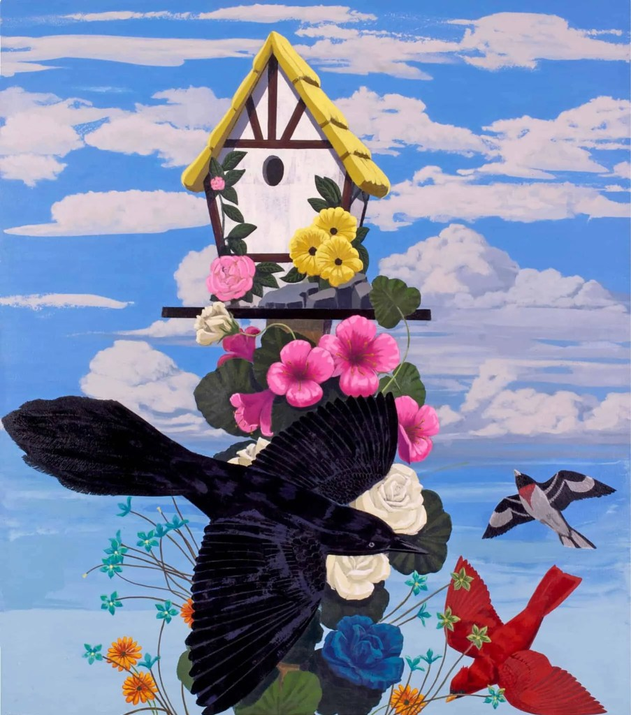 Kerry James Marshall painting of black bird with birdhouse