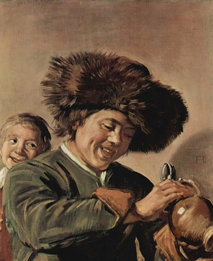painting of two boys laughing with a beer mug