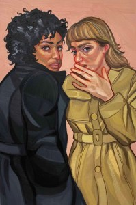 Painting of two women whispering