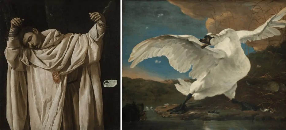 Composite picture a painting of a man in white and a goose mid flight