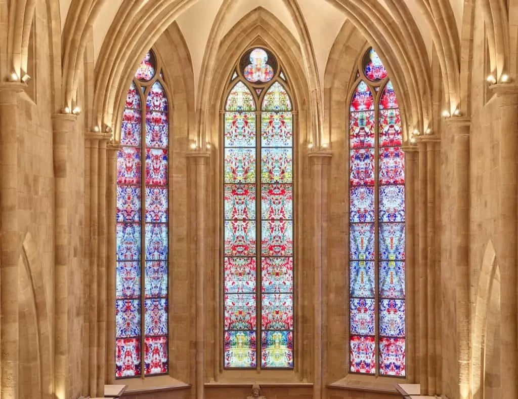 Three stained-glass windows designed by Gerhard Richter