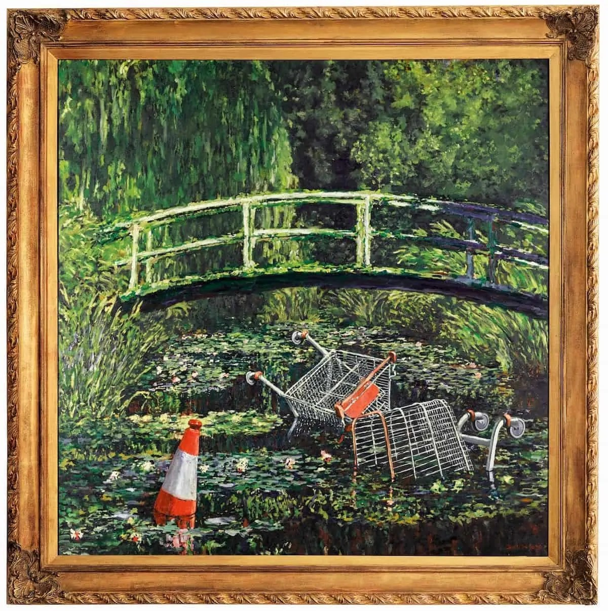 A revision of a Monet water lily painting with a traffic cone and shopping trollies in the water by Banksy Art World Roundup