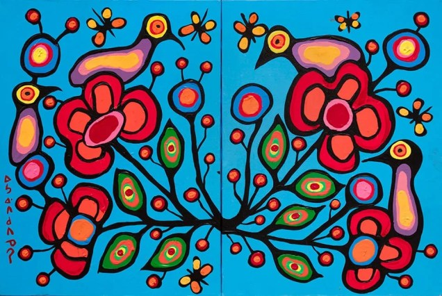 Vibrant painting of abstracted birds with foliage by Norval Morrisseau