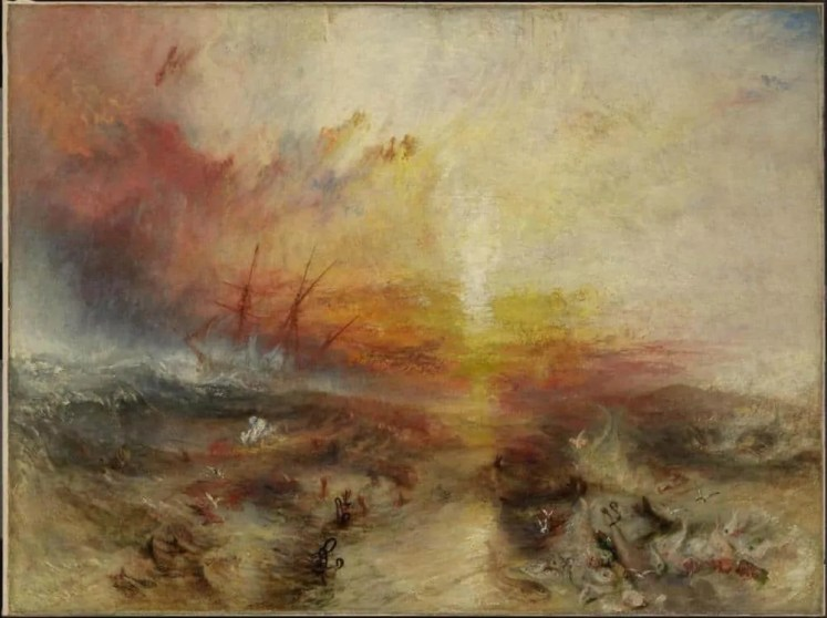 JMW Turner paints an imagined scene of a slave ship that threw slaves overboard