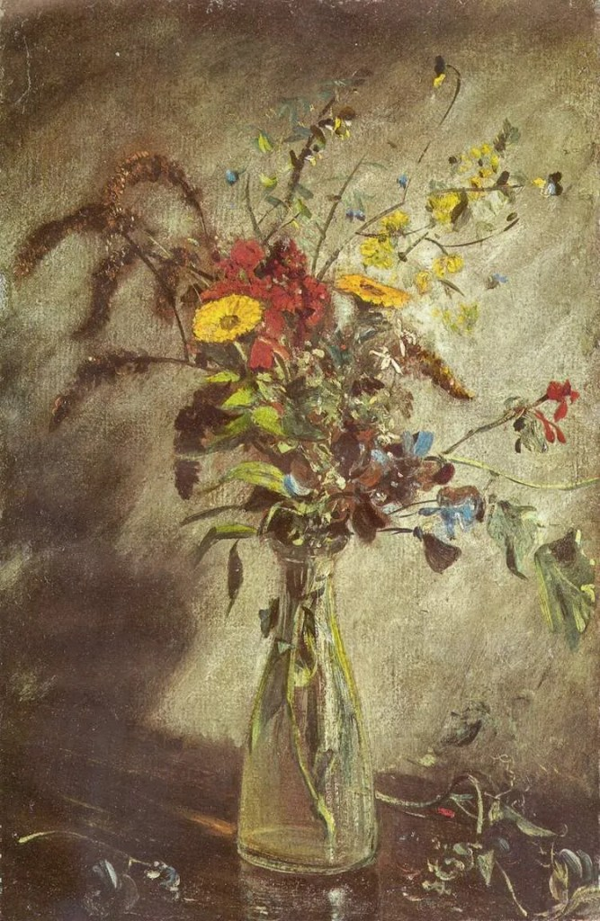 Red and yellow flowers in a glass vase as painted by John Constable