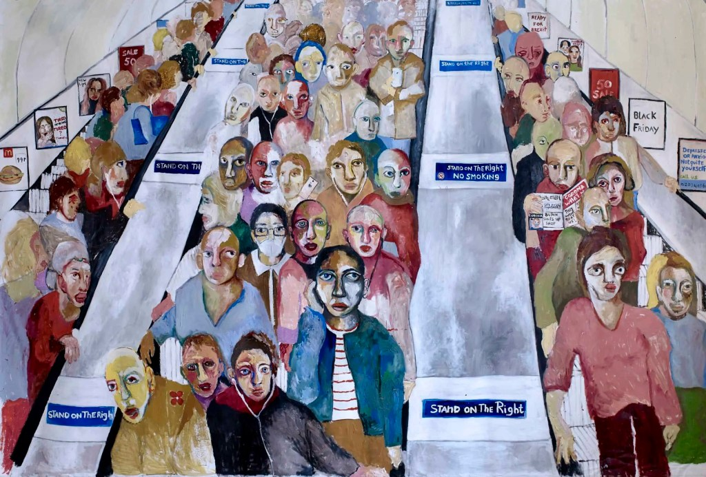 Colourful oil painting of hundreds of faces crowded on an escalator by Jade van der Mark Art Would Roundup