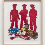 """Silhouette of three police stand over the body of a Black person. Artwork by Jim Carrey to be part of """"Show Me the Signs"""""""