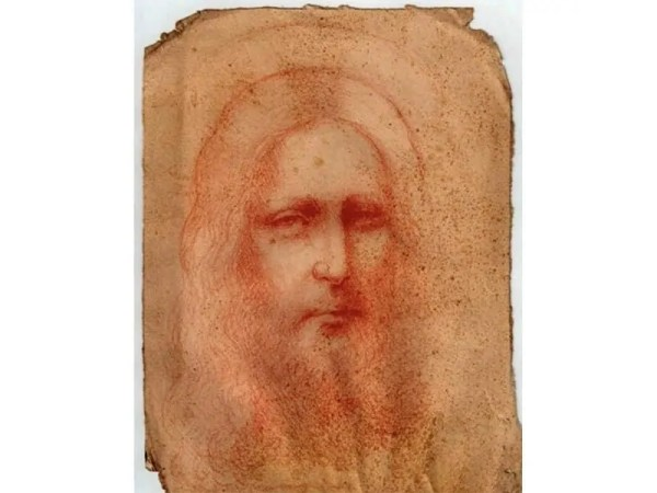 red chalk drawing on paper thought to be by Leonardo da Vinci