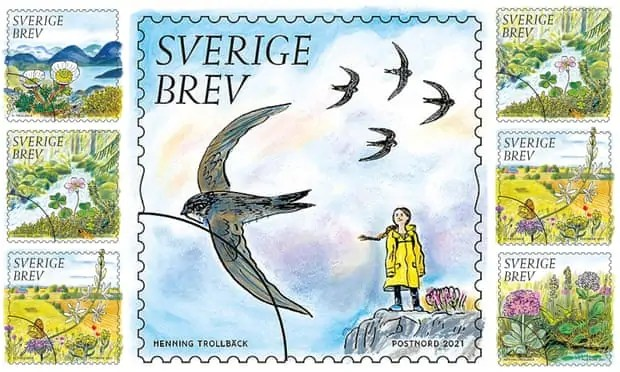 A compilation of stamps by illustrator Henning Trollbäck honouring Greta Thunberg Art World Roundup