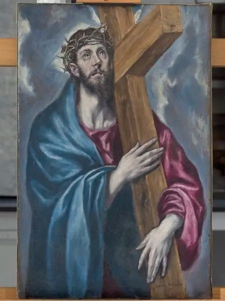 Small painting of Jesus Christ carrying a cross by El Greco Art World Roundup