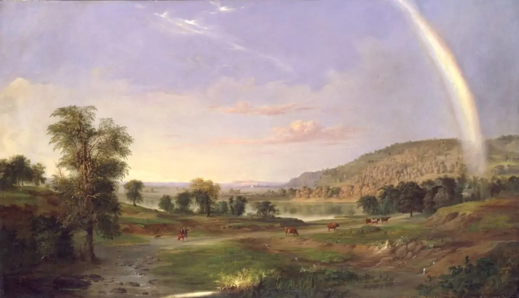 Landscape painting with rainbow by Robert S. Duncanson Art World Roundup