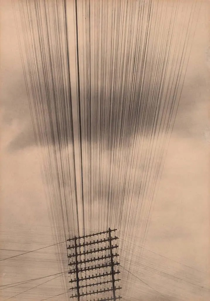 Sepia image of telephone wires by Tina Modotti Art World Roundup