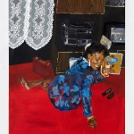 Painting of a woman in a blue dress sitting on the floor by Emma Prempeh Art World Roundup