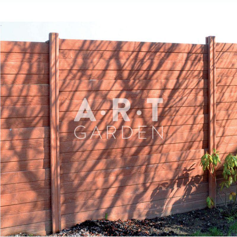 cloture beton plaque 1 face imitation planches bois 192 x 40 x 3 5 cm