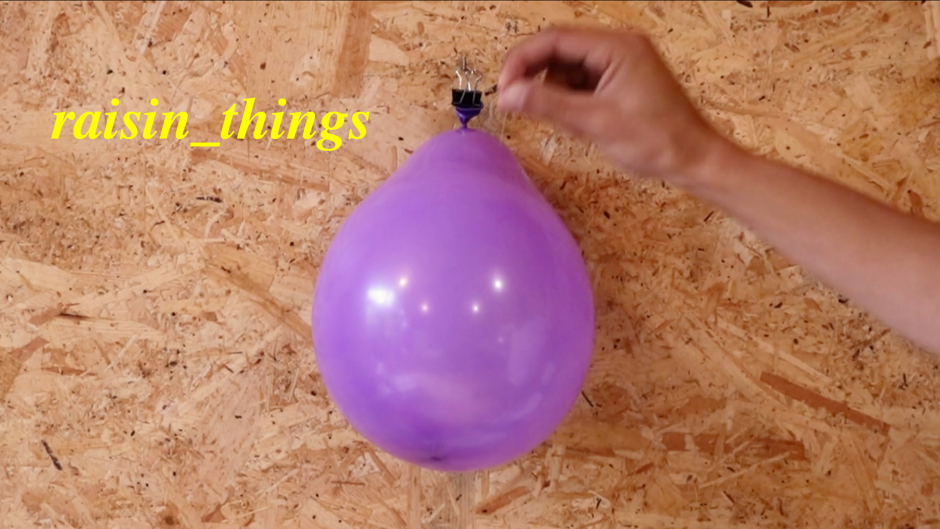 hand holding purple ballon in front of a plywood wall, yellow text in top left hand corner reads: