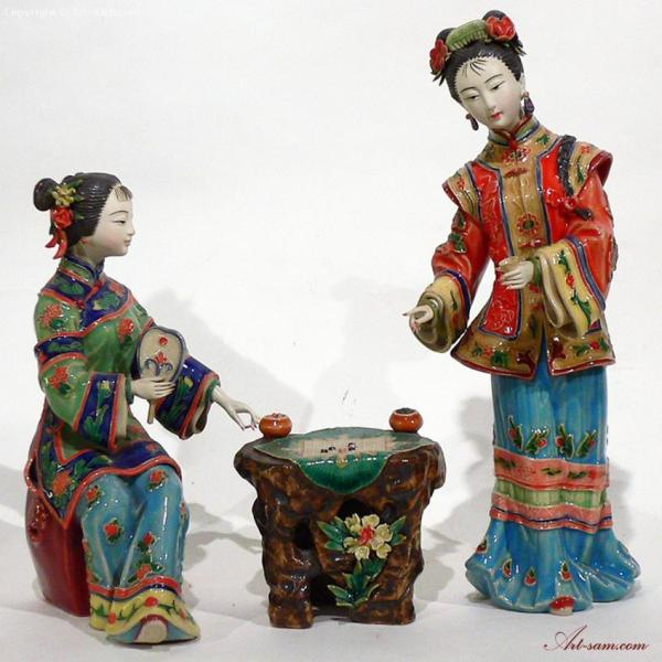 eeb05d3ab ... Ceramic Porcelain Chinese Figurine Oriental Lady Playing ...