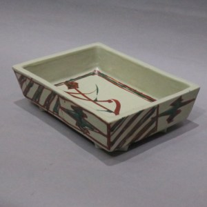 浜田庄司 白磁赤絵角鉢
