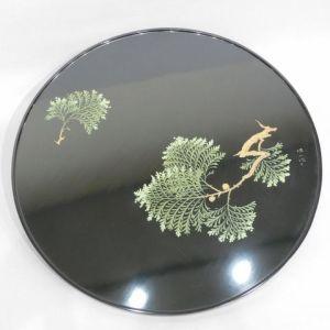 松田権六 黒塗檜蒔絵丸盆