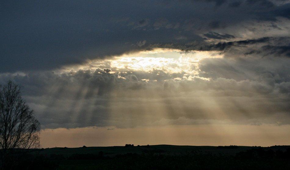 Wolkenbruch Sonnenschein Licht Bild auf Leinwand